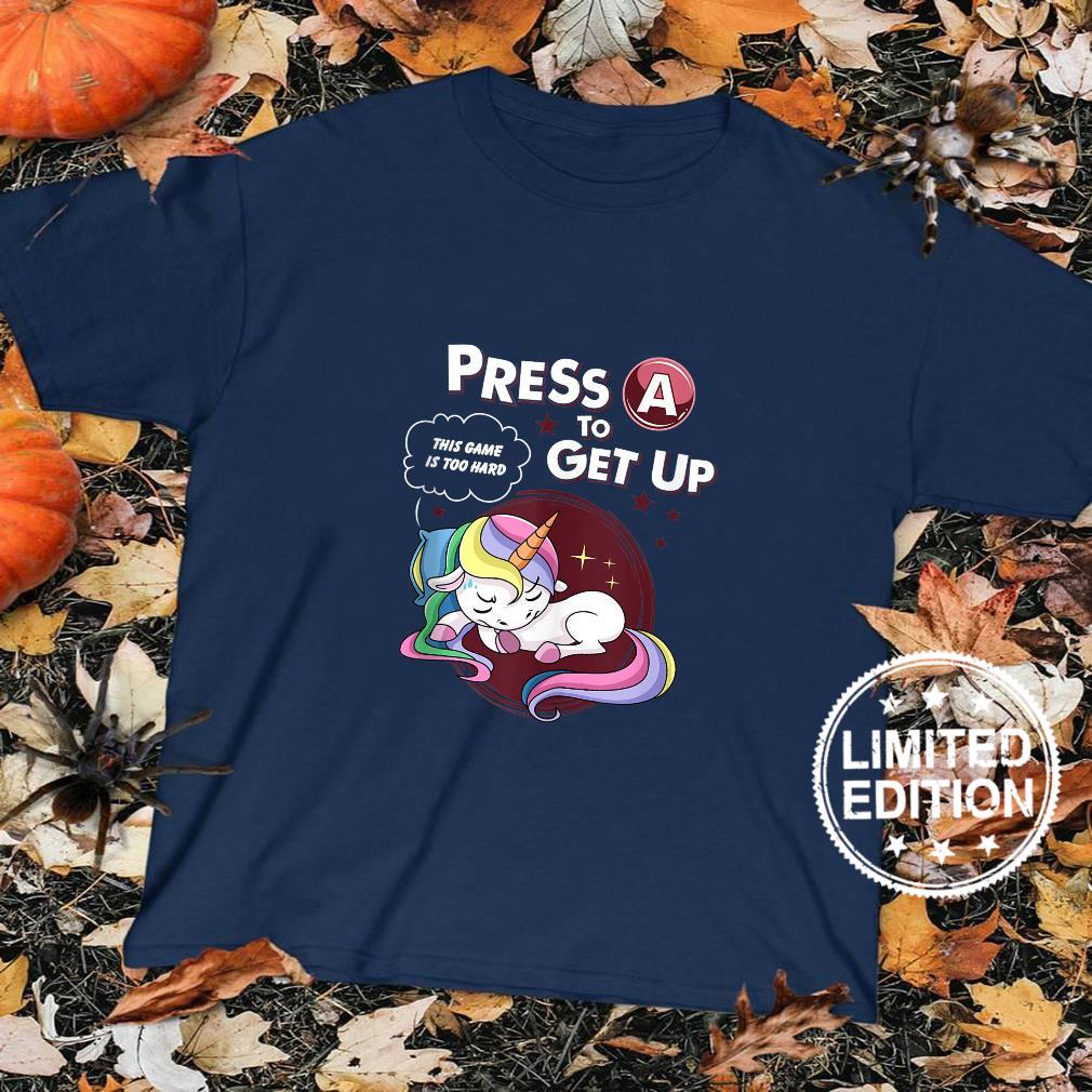 Press A To Get Up This Game Is Too Hard Lazy Gamer Unicorn Shirt sweater